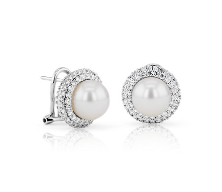 Classic Akoya Cultured Pearl Double Halo Diamond Earrings in 18k White Gold (9mm)