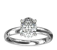 铂金经典内圈卜身设计单石订婚戒指<br>(2.5毫米)