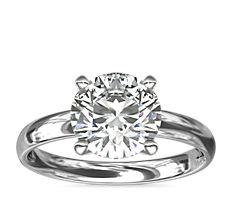 鉑金經典內圈卜身設計訂婚戒指(2.5毫米)