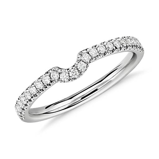 Classic Curved Pave Diamond Ring in 14k White Gold (1/6 ct. tw.)