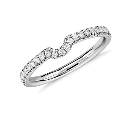 Classic Curved Pave Diamond Ring in 14k White Gold