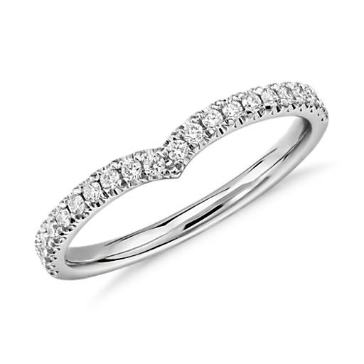 Classic V-Curved Diamond Ring in 14k White Gold (1/5 ct. tw.)