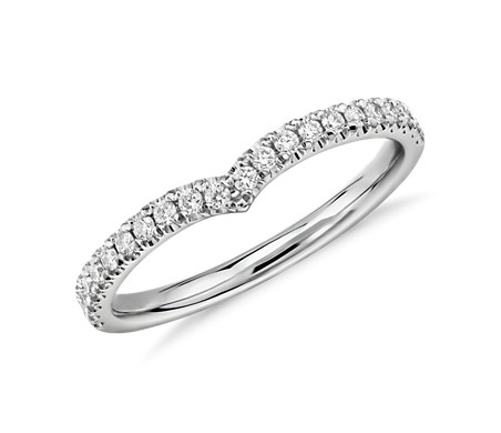 Classic V-Curved Diamond Ring in 14k White Gold