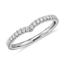 Classic V-Curved Diamond Ring in Platinum