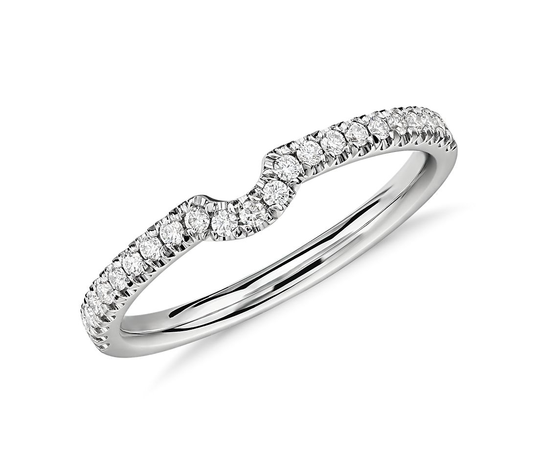 Classic Curved Diamond Ring in Platinum