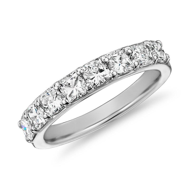 Classic Cushion Cut Eight Stone Diamond Ring in Platinum (1 1/5 c