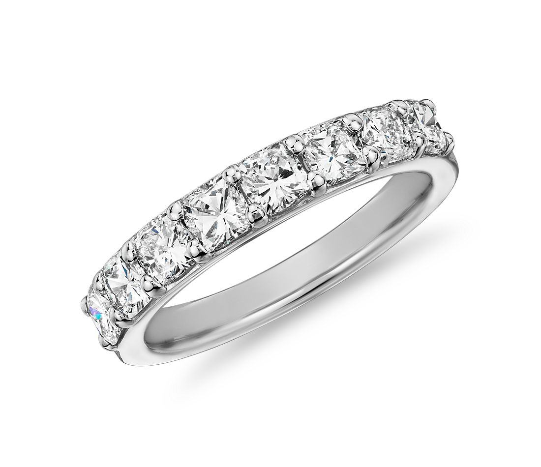 Classic Cushion Cut Eight Stone Diamond Ring in Platinum