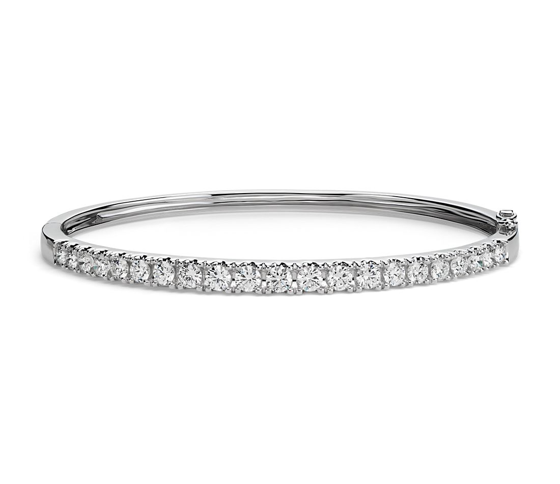 Classic Diamond Bangle In 18k White Gold 2 5 Ct Tw