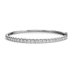 18k 白金经典钻石手镯(2.5 克拉总重量)