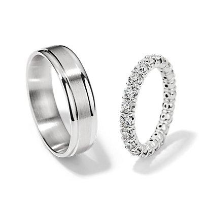 Ensemble bague d'éternité diamant classique et alliance rainurée en or blanc 14carats