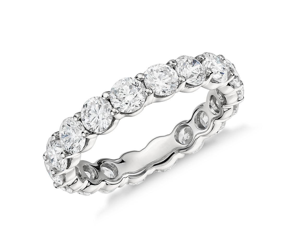 classic diamond eternity ring in platinum 3 ct tw - Wedding Band Rings
