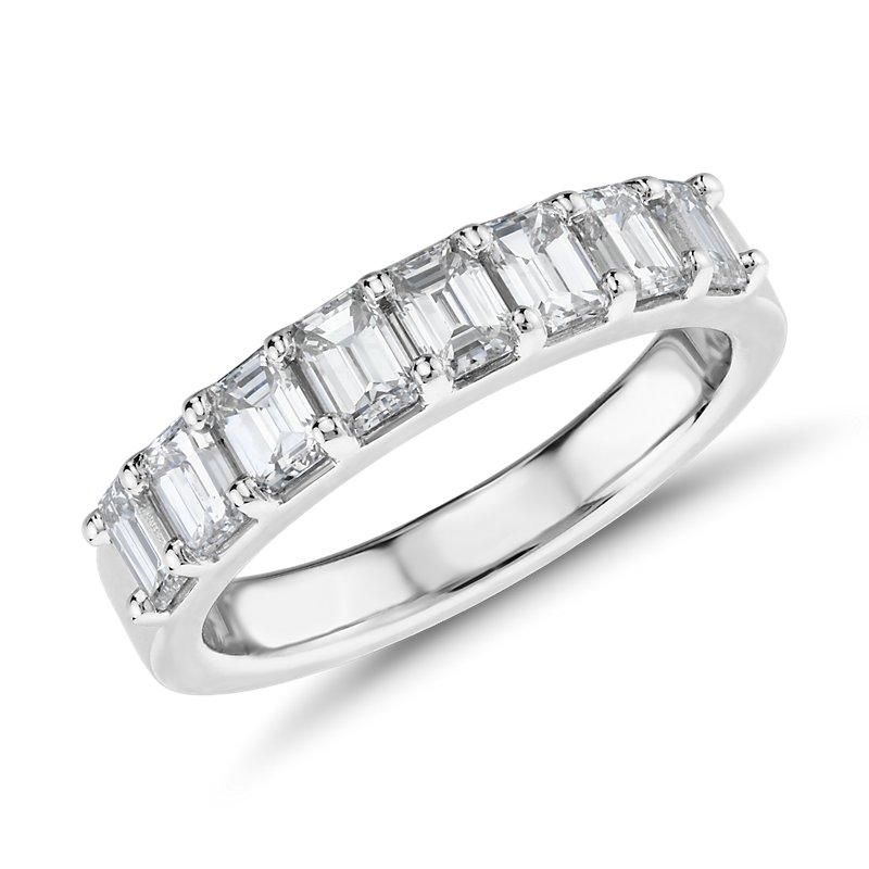 Classic Emerald Cut Eight Stone Diamond Ring in Platinum (1 1/5 c