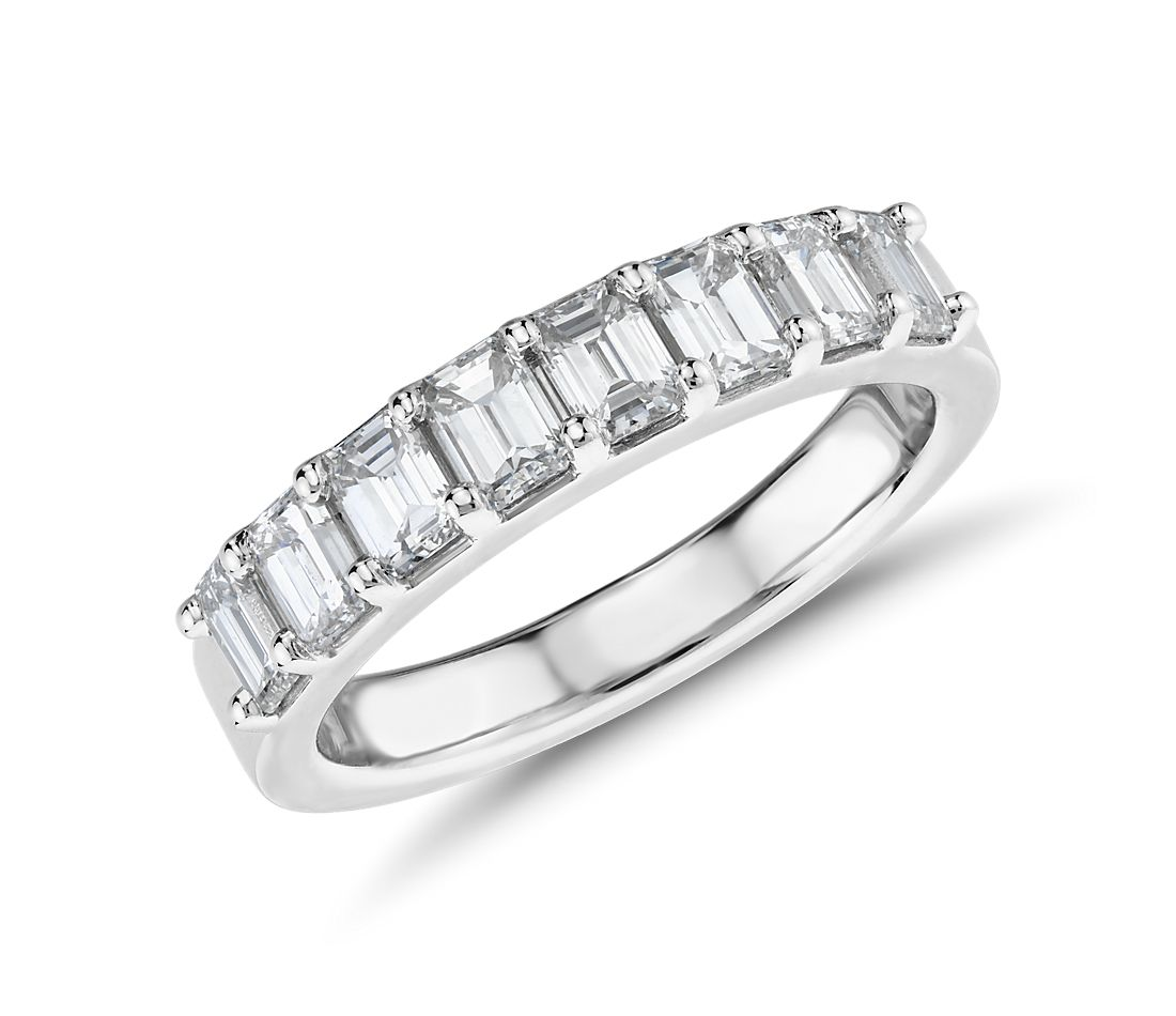 Classic Emerald Cut Eight Stone Diamond Ring in Platinum (1.15 ct. tw.)
