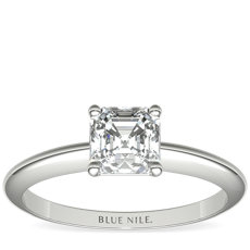 Classic Four Claw Solitaire Engagement Ring in 18k White Gold