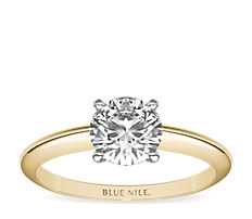 Classic Four Claw Solitaire Engagement Ring in 18k Yellow Gold