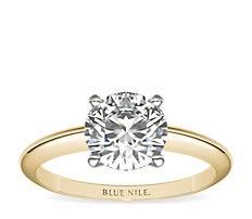 18k 金经典四爪单石订婚戒指