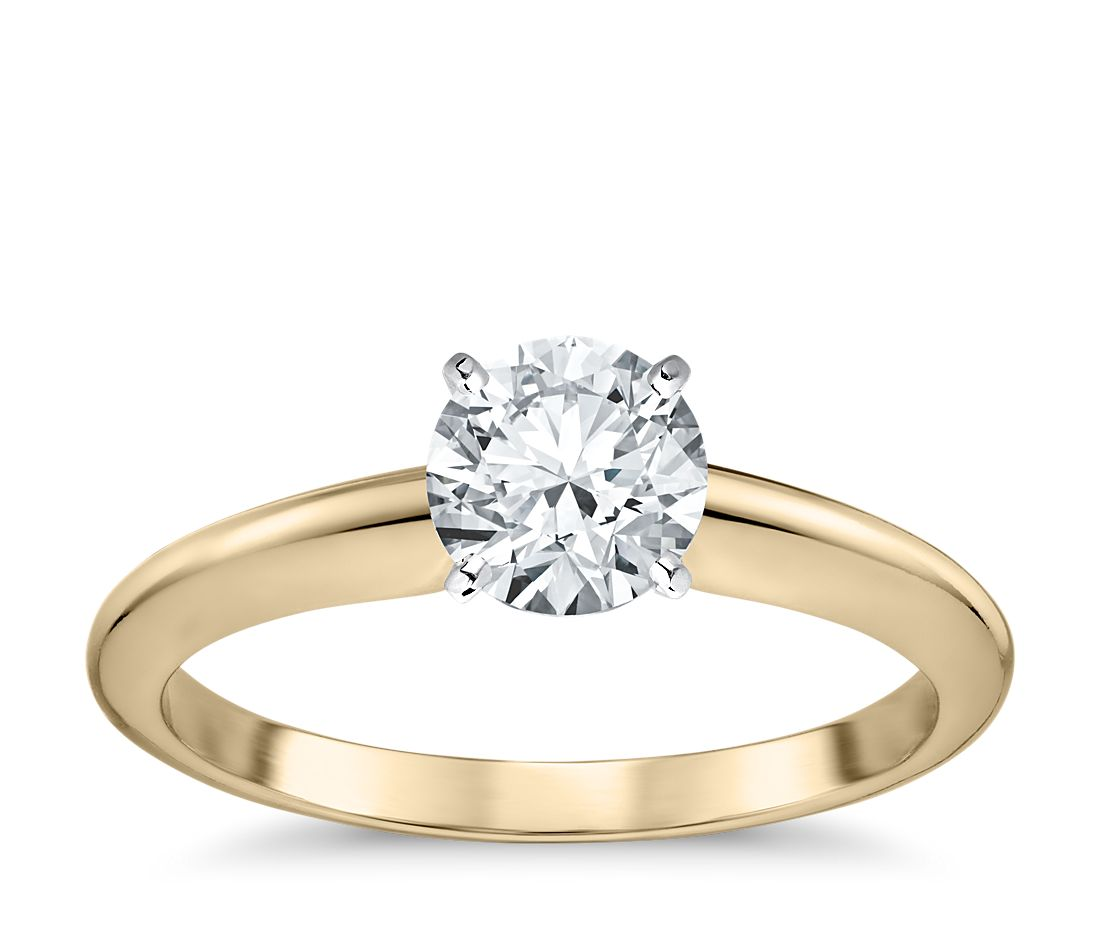 classic four prong solitaire engagement ring in 18k yellow gold - Colored Wedding Rings