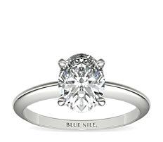 铂金经典四爪单石订婚戒指