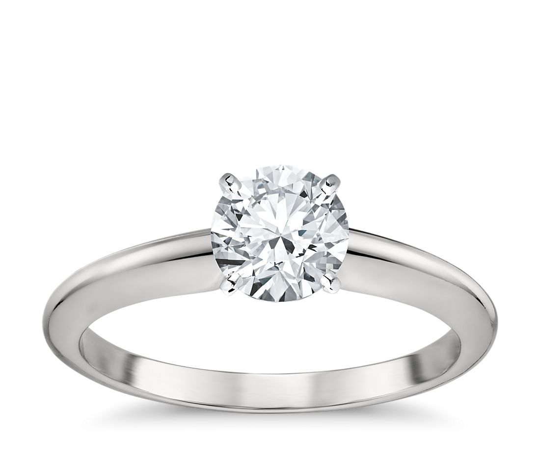 classic four prong solitaire engagement ring in platinum - Wedding Rings Houston