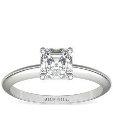鉑金經典四爪單石訂婚戒指及結婚戒指