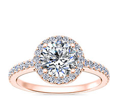 Classic Halo Diamond Engagement Ring in 14k Rose Gold (1/4 ct. tw.)