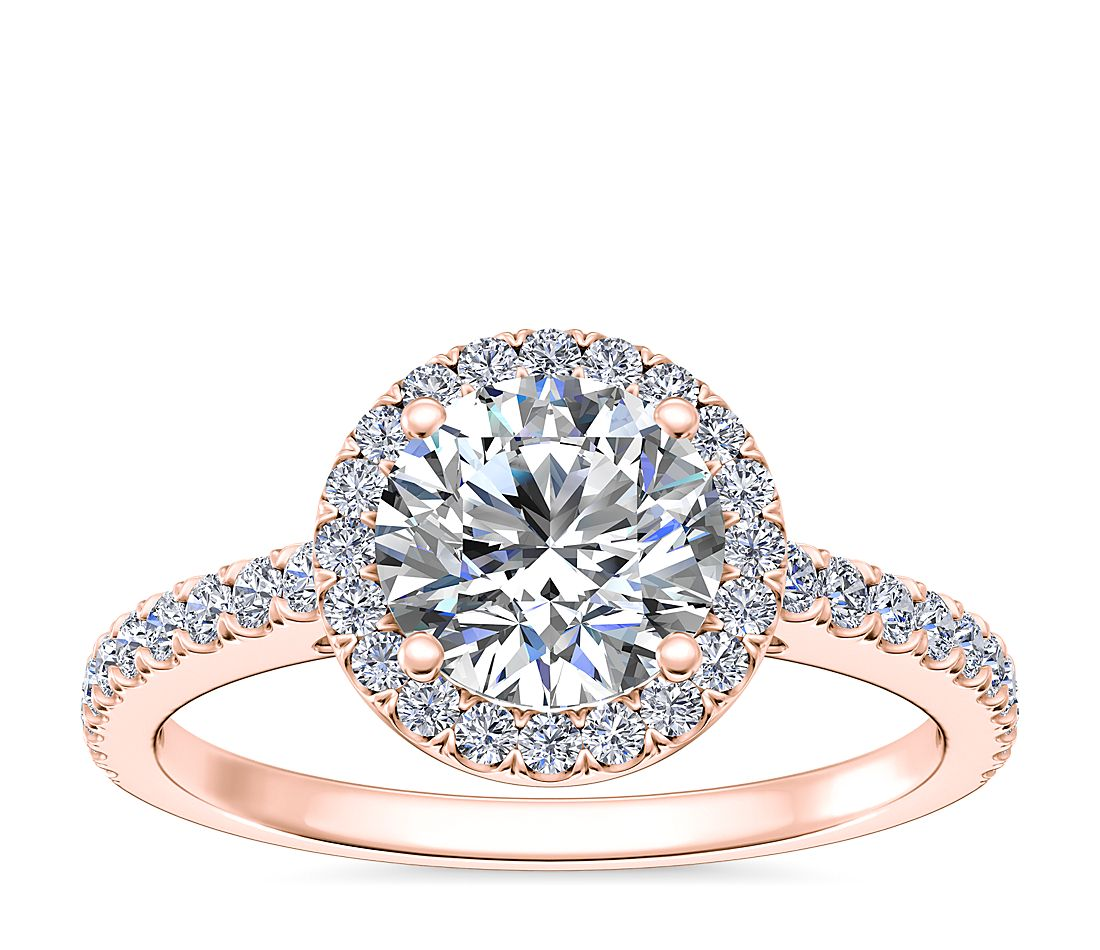 Engagement Rings In Gold: Classic Halo Diamond Engagement Ring In 14k Rose Gold (1/4