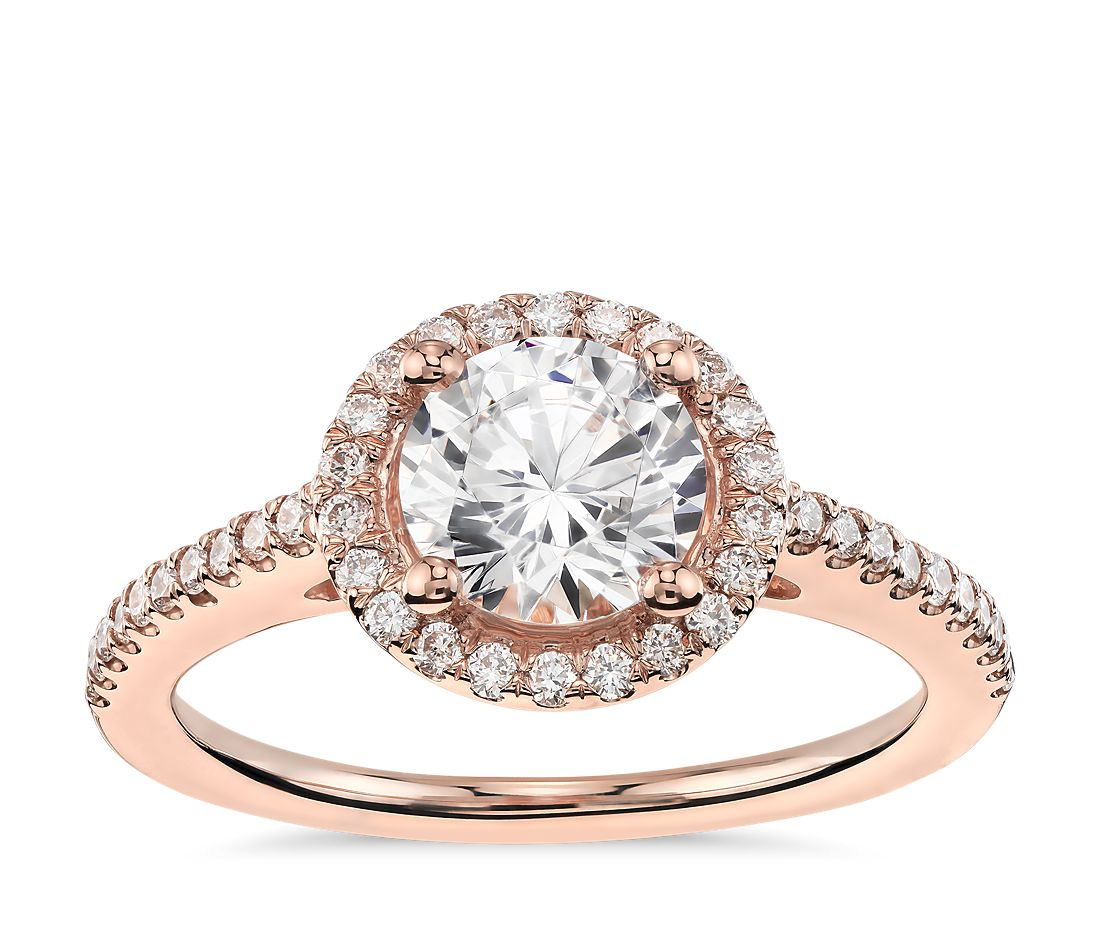 Classic Halo Diamond Engagement Ring in 14k Rose Gold (1/4 ...
