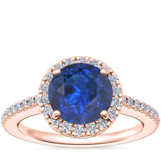 NEW Classic Halo Diamond Engagement Ring with Round Sapphire in 14k Rose Gold (8mm)