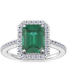 NEW Classic Halo Diamond Engagement Ring with Emerald-Cut Emerald in 14k White Gold (8x6mm)
