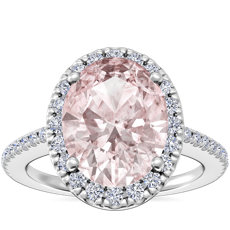 NEW Classic Halo Diamond Engagement Ring with Oval Morganite in 14k White Gold (9x7mm)