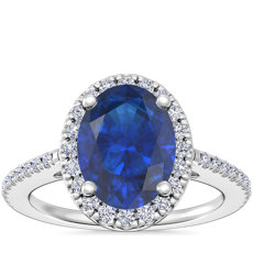 NEW Classic Halo Diamond Engagement Ring with Oval Sapphire in 14k White Gold (8x6mm)