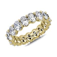 Bague d'éternité classique avec diamants taille ovale en or jaune 18carats (5 1/2carats, poids total)