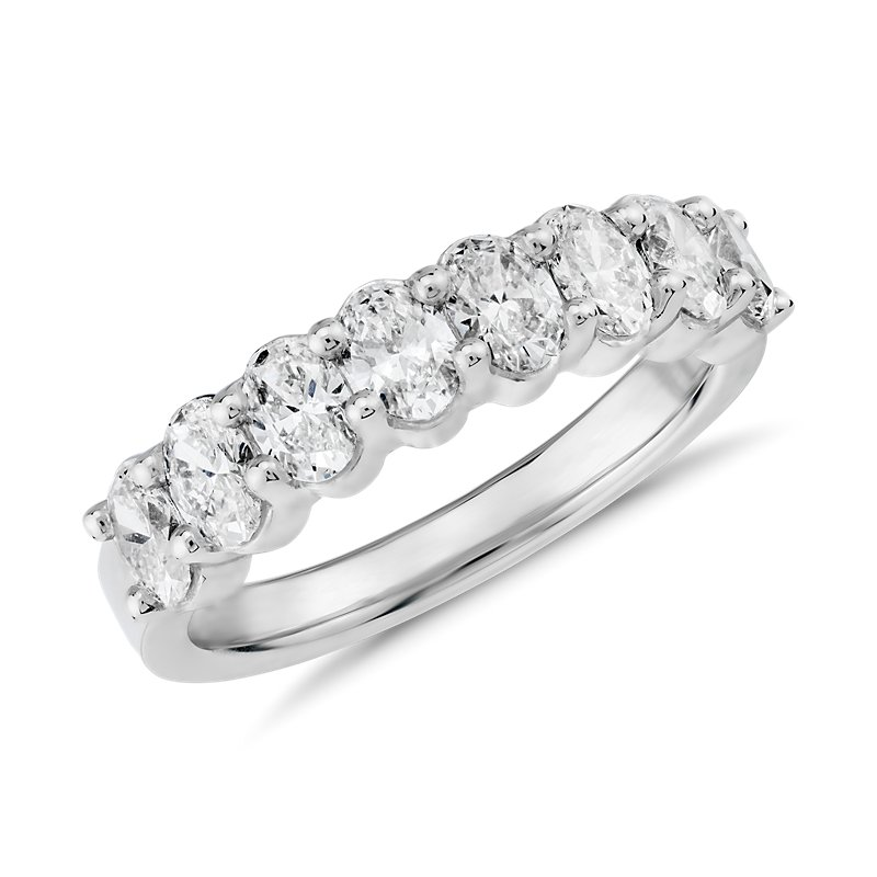 Classic Oval Cut Eight Stone Diamond Ring in Platinum (1 1/5 ct.