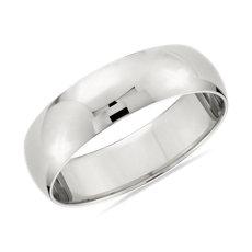 14k 白金經典結婚戒指(6毫米)