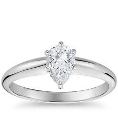 14k 白金经典简约单石订婚戒指