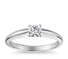 14k 白金經典簡約單石訂婚戒指