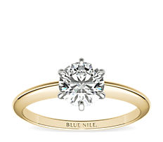 Classic Six-Claw Solitaire  Engagement Ring in 18k Yellow Gold