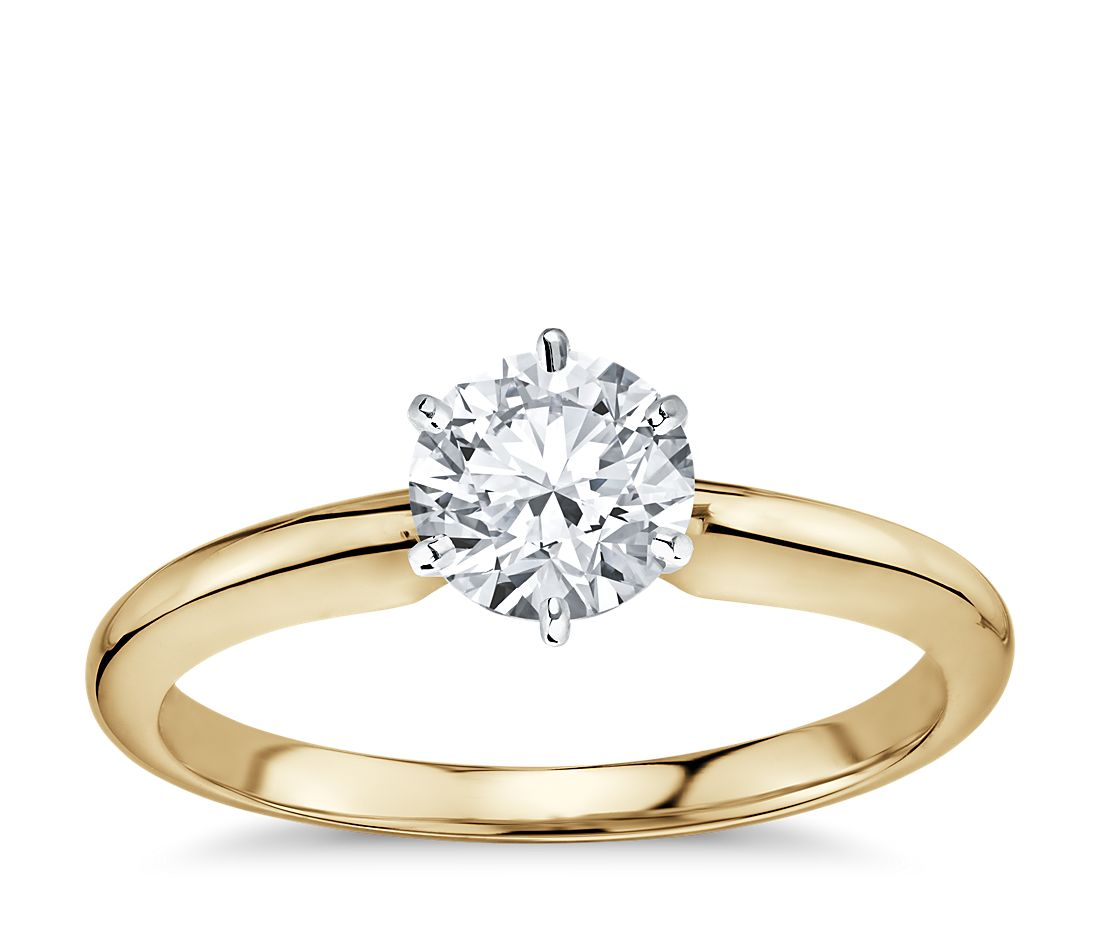 classic six prong solitaire engagement ring in 18k yellow gold - Wedding Rings Gold