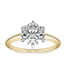 Classic Six-Prong Solitaire  Engagement Ring in 18k Yellow Gold