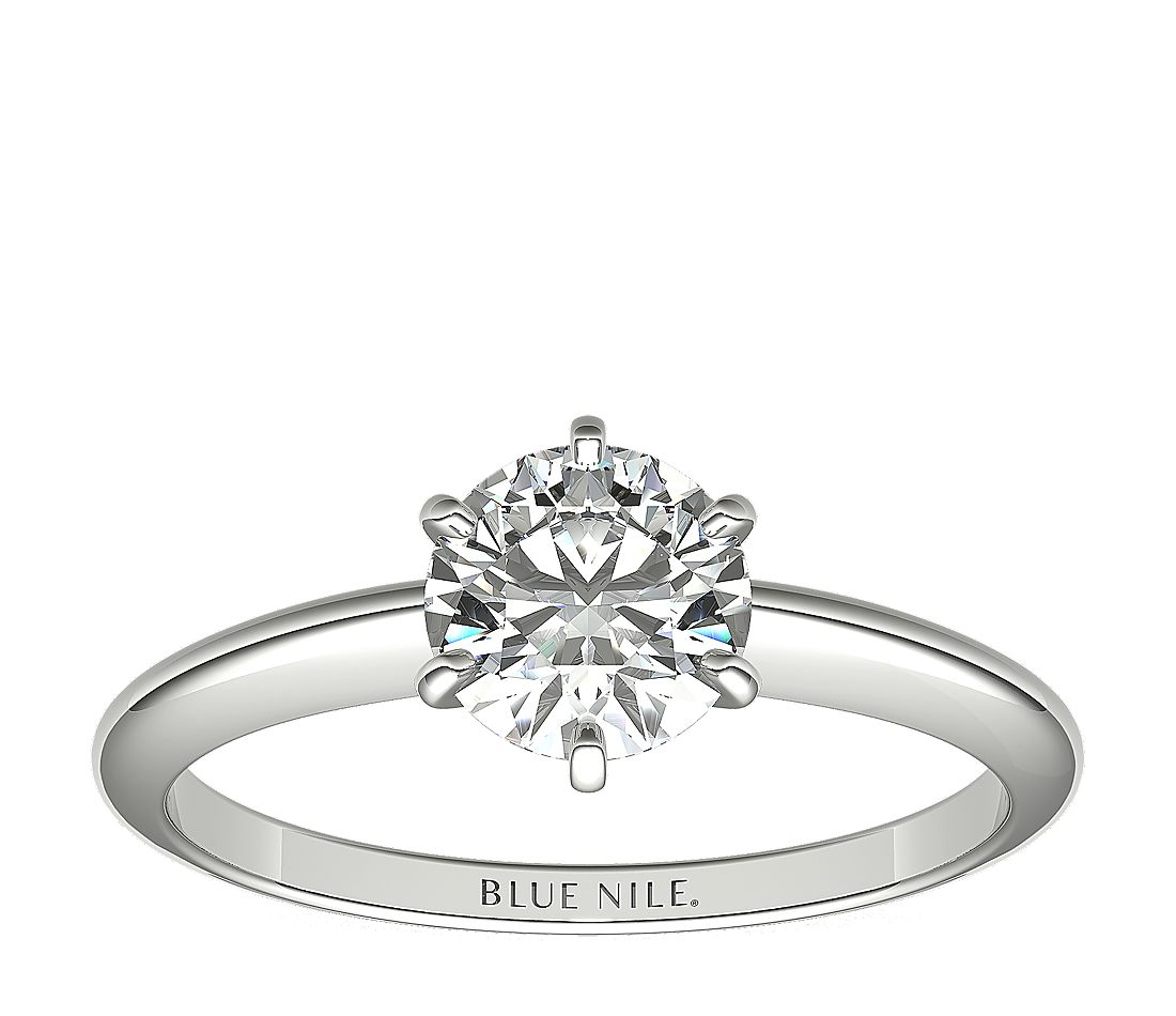 1 Carat Ready-to-Ship Classic Six-Claw Solitaire Engagement Ring in Platinum