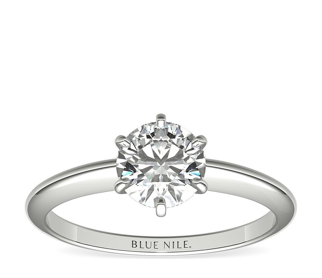 A six-prong solitaire engagement ring with a 1-carat round center diamond.