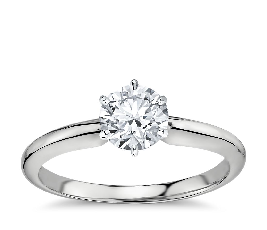 classic six prong solitaire engagement ring in platinum. Black Bedroom Furniture Sets. Home Design Ideas