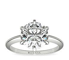鉑金經典六爪單石訂婚戒指及結婚戒指