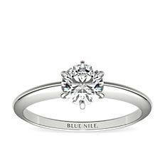 铂金经典六爪单石订婚戒指
