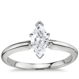 classic six prong solitaire engagement ring in platinum - Marquise Wedding Rings