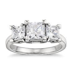 Classic Three Stone Diamond Engagement Ring in Platinum