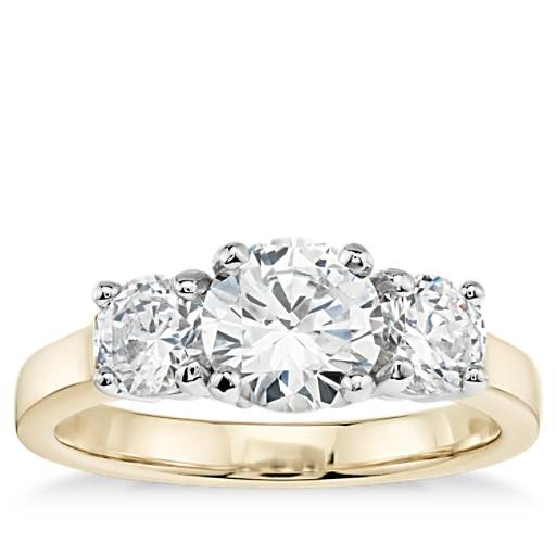Classic Three-Stone Diamond Engagement Ring In 18k Yellow