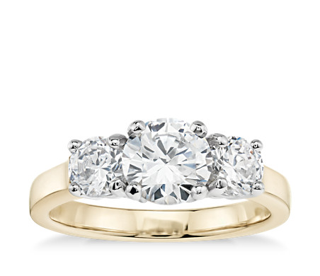 Clic Three Stone Diamond Engagement Ring In 18k Yellow Gold