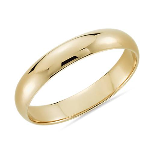 Classic Wedding Ring In 14k Yellow Gold 4mm