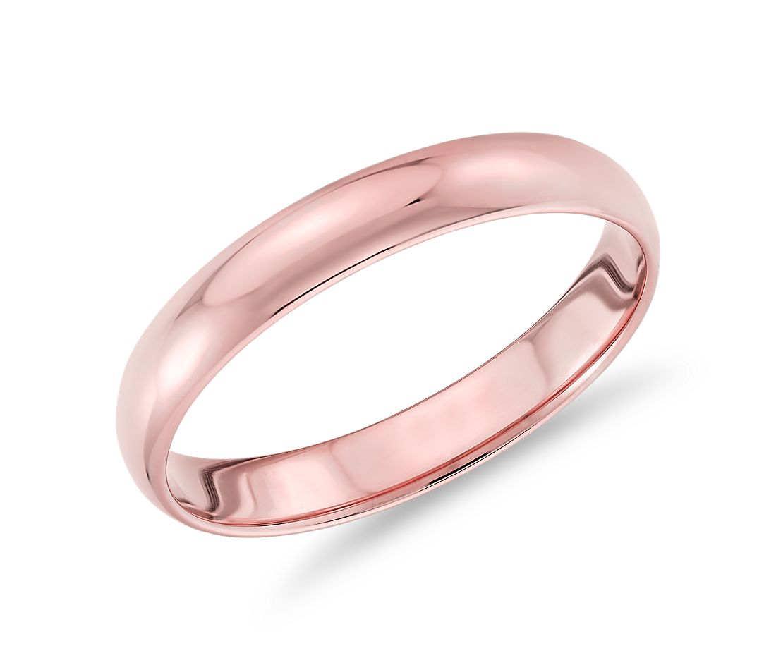 Alliance classique en or rose 14 carats (3 mm)